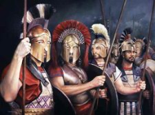 Thermopylae 480BC Spartan and Thespaiain Hoplites.jpg